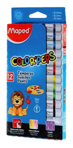 Tempera Escolar Maped Color Peps Lavable X12 Pomos Surtidos