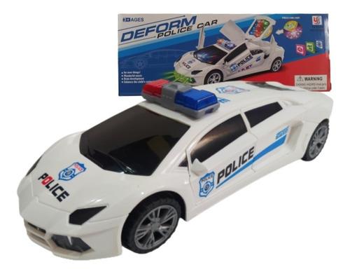Carrinho Policia Emite Som E Luz Gira 360 Graus Anda+pilhas