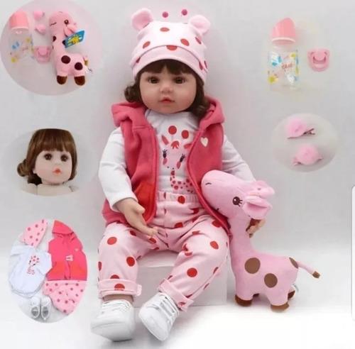 Boneca Bebê Reborn Realista Silicone 48cm Girafinha Barata