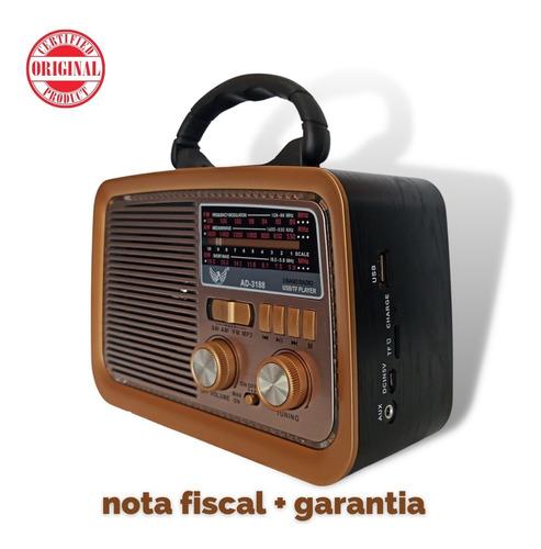 Rádio Fm Am Sw Vintage Retrô Bluetooth Pen Drive