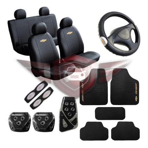 Kit Capa Couro Banco Tapete Volante Pedal Chevrolet