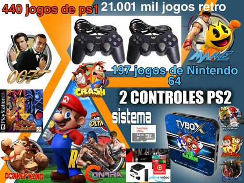 Video Game Retro Box  21.001 Mil Jogos 32gb Com 2 Controles