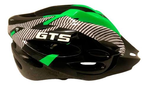 Capacete Com Sinalizador Led Ciclismo Bike Verde Com Preto