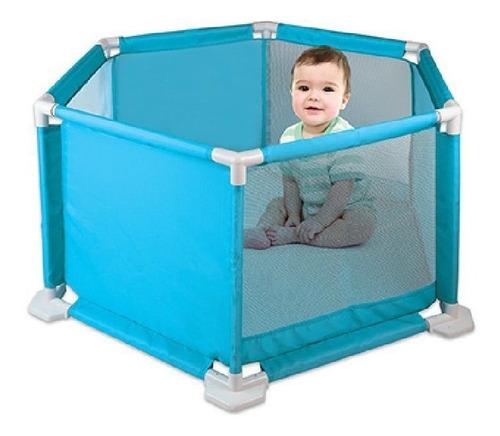 Cercadinho Para Bebê Portátil Desmontável Braskit Cor Azul