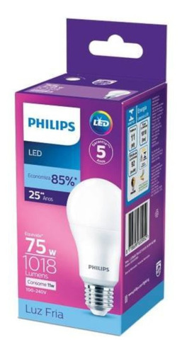 Lâmpada Led Philips 11w Bivolt Luz Branca Fria 6500k E27