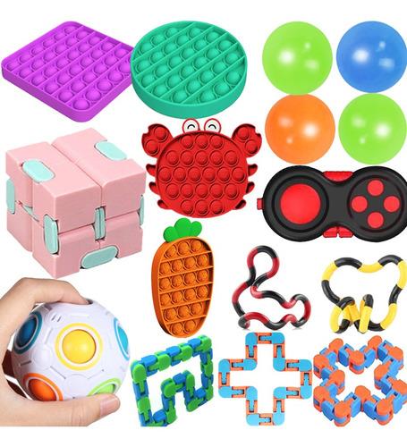 16pcs Fidget Cube Anti Stress Toy Rubik Cube Ball