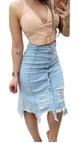 Saia Destroyed Jeans Mid Moda Moda Evangélica Barato Atacado
