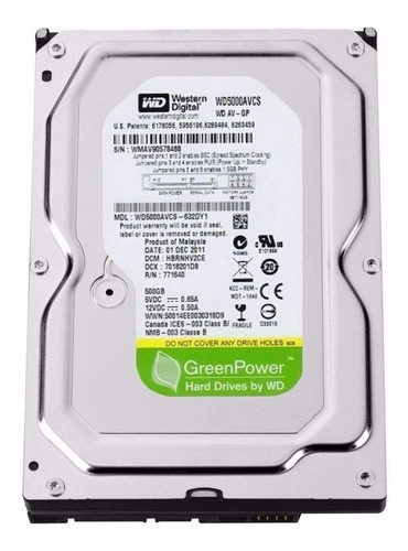 Disco Rígido Interno Western Digital Wd Green Power Wd5000avcs 500gb Verde
