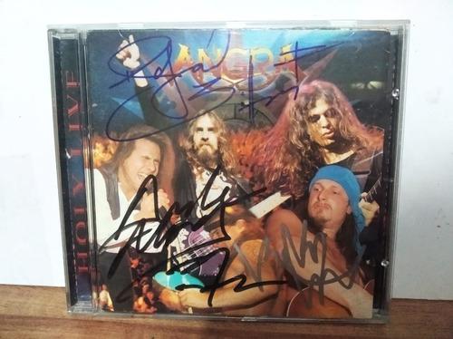 Cd Angra Holy Live Autografado Por Andre, Rafael E Kiko