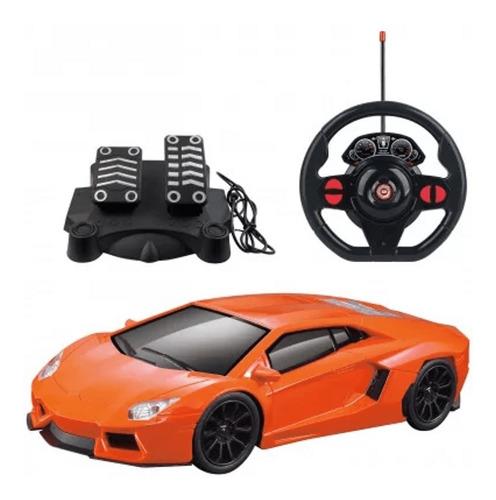 Carrinho Controle Remoto Simulador Led Volante E Pedal Preto