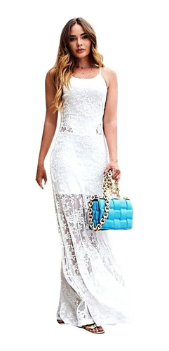 Vestido Longo Renda Sereia Colado Branco Justo Promoção
