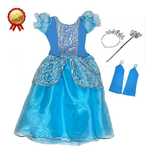 Fantasia Infantil Cinderela Disney Coroa + Luvas + Varinha