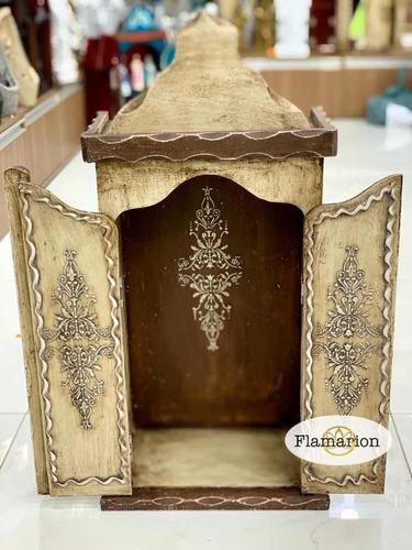 Oratório Capela Madeira Patina Grande 68cm P/ Santo Até 45cm