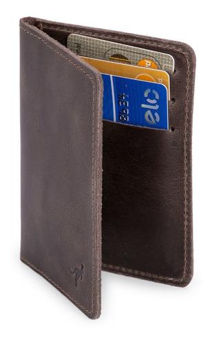 Carteira Porta Documento Slim Couro Legítimo Natural Cabe Rg