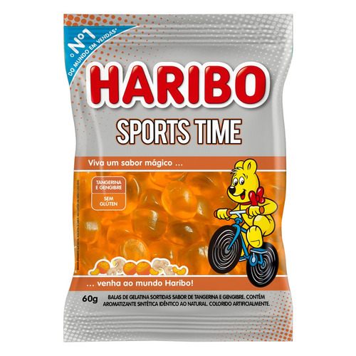 Bala Haribo Sports Time Tangerina E Gengibre Sem Glúten 60 G