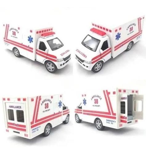 1 Miniatura Ambulância Americana Abre Porta Ferro 13cm