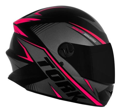 Capacete Moto Feminino Fechado Pro Tork Rosa Viseira Fumê