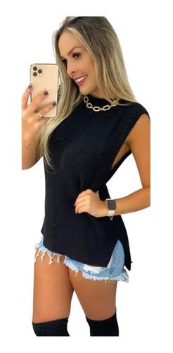 Colete Tricot Canelado Maxi Feminino Moda Inverno 2021