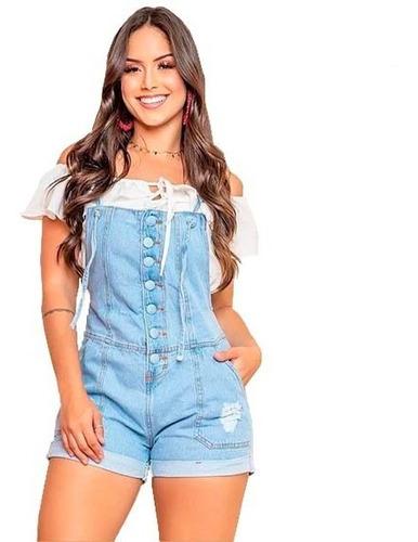 Macaquinho Curto Jeans Feminino Jardineira Botões Blogueiras