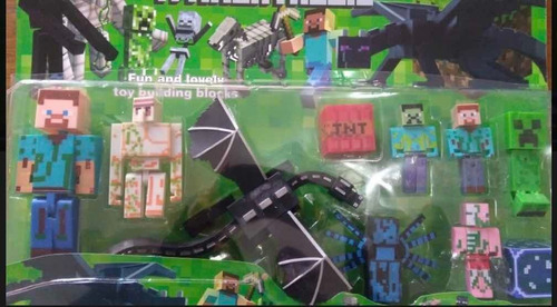 Set Blister Juguete Minecraft X 10 Figuras Dragon Steve