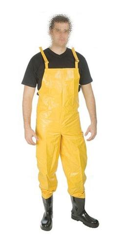 Calça Tipo Jardineira Saneamento Com Bota De Pvc Acoplada