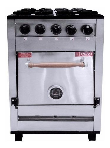 Cocina Industrial Pevi 4h 55cm Multigas 4 Hornallas Acero Inoxidable 220v Puerta Ciega