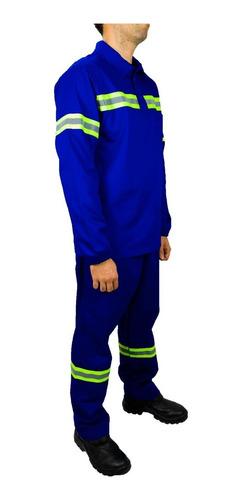 Conjunto Brim Camisa E Calça Com Faixa Refletiva Segurança