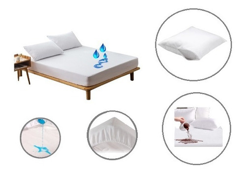 Forro Protector Plástico Antifluidos Cama Doble Con Funda