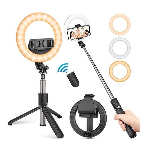 Ring Light Pau De Selfie Tripé Bluetooth Gopro Iluminador L7