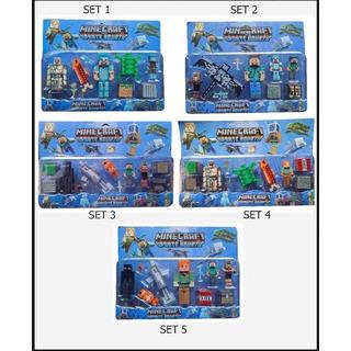 Set Blister Juguete Minecraft X5 Figuras + Accesorios