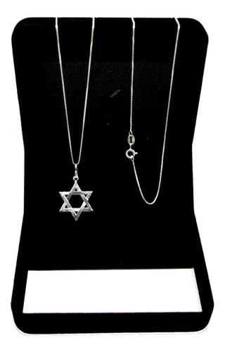 Corrente Masculina Prata Maciça 925 Cordão + Estrela De Davi