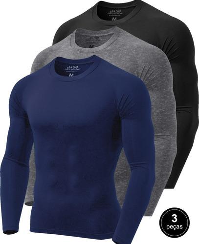 Kit 3 Camisetas Térmicas Masculina Segunda Pele Camisa Uv 50