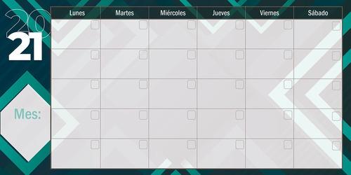 Pintarrón Calendario De Actividades De 120x60 Cms