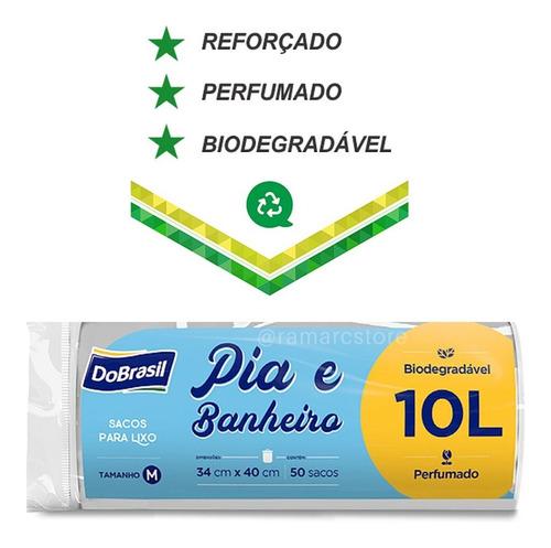 Saco Para Lixo Banheiro E Pia Perfumado 10 Lts 50 Unidades