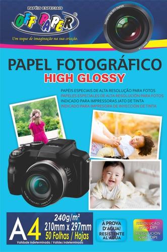 Papel Fotográfico High Glossy A4 240g 50 Folhas