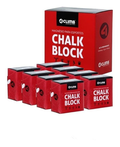 Kit Com 16 Magnésio Chalk Block Cross Escalada 56g 4climb