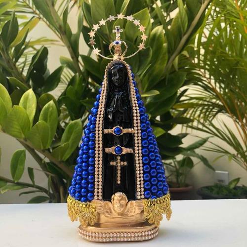 Nossa Senhora Aparecida 23cm Perola Azul E Coroa Resplendor