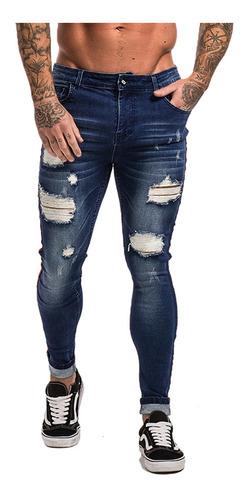 Calça Masculina Jeans Rasgada Premium Skinny Lycra Promoção