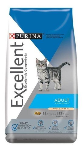 Alimento Excellent Adult Para Gato Adulto Sabor Pollo Y Arroz En Bolsa De 7.5kg