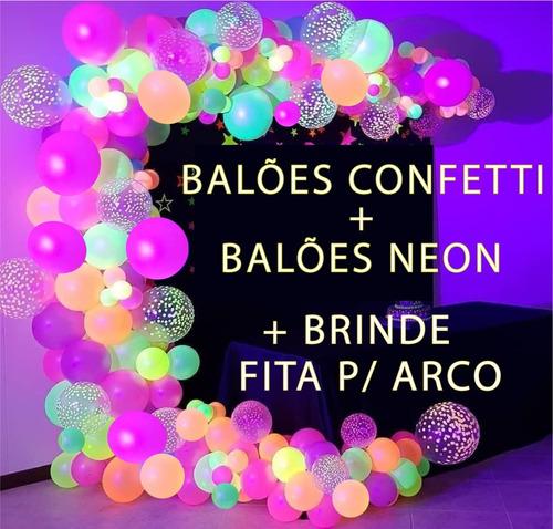 50 Balão Bexiga Festa Neon +  Confete -  Decoração Festa