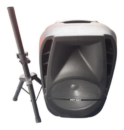 Caixa De Som Ativa 15pol Hotsat Com Tripé Bluetooth 600w Nfe