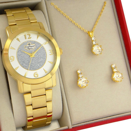 Relógio Feminino Champion Dourado Prova Dagua Garantia 1 Ano
