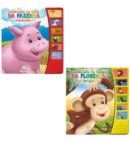 Kit 2 Livros Infantis Bebê Sons De Animais Safari Fazenda