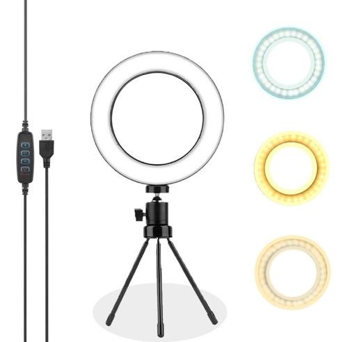 Ring Light Tripé Mesa Iluminador Luz De Led Live Selfie Make