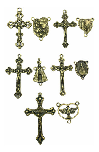 Kit Sortido 50 Crucifixos + 50 Entremeios Ouro Velho