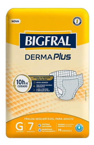 Kit C/5 Pt Fralda Bigfral Plus J P M G Xg Adulto Geriátrica