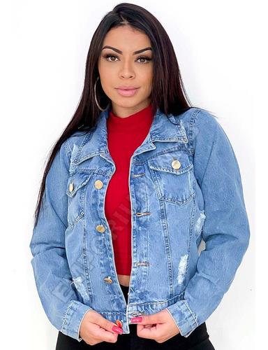 Jaqueta Jeans Feminina Destroyed Melhor Preço Atacado Original