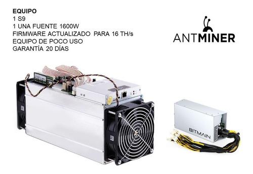 Antminer S9 Poco Uso, Incluye Fuente Y Cable De Poder