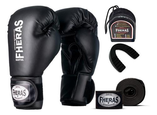 Kit Luva De Boxe Muay Thai Mma Bandagem E Bucal Fheras
