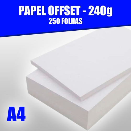 Papel Offset 240g Caixa Com 250 Folhas Tamanho A4 Branco